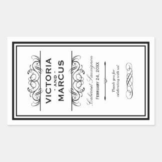 Black and White Wedding Wine Bottle Monogram Rectangular Sticker