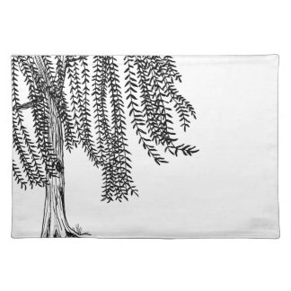 Black and white Weeping Willow Tree Place Mats
