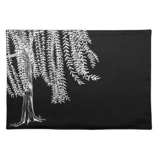Black and white Weeping Willow Tree Place Mat
