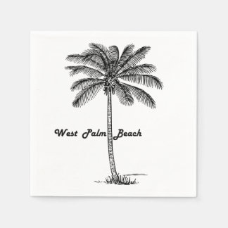 Black and white West Palm Beach & Palm design Paper Napkin