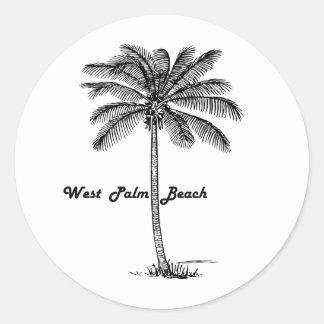 Black and white West Palm Beach & Palm design Round Sticker