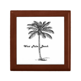 Black and white West Palm Beach & Palm design Small Square Gift Box