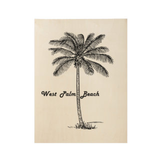 Black and white West Palm Beach & Palm design Wood Poster
