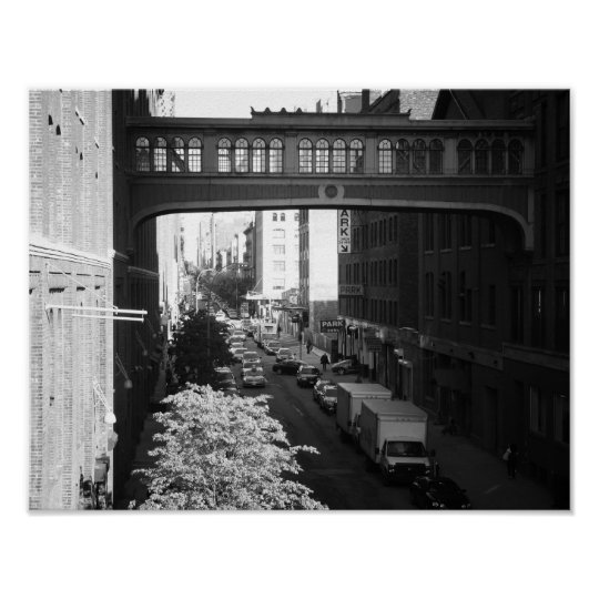 Black and White West Village Skybridge, Small Poster