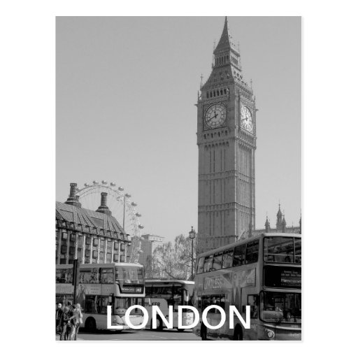 Black and white Westminster London postcard