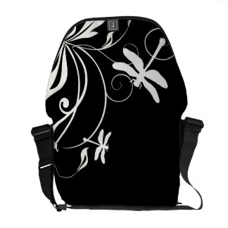 Black and White Whimsical Dragonfly Courier Bag