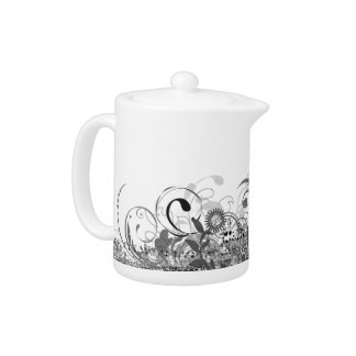 black and white whimsical teapot