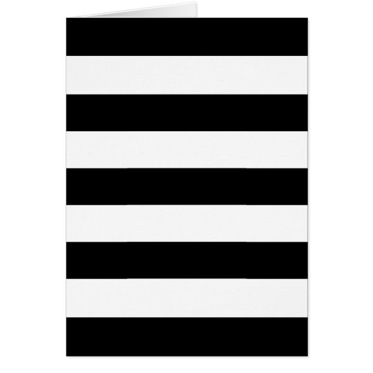 Black and White Wide Stripes Blank Greeting Card