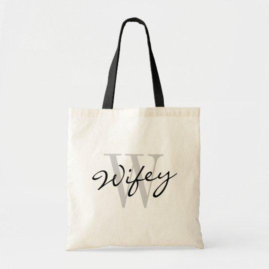Black and white WIFEY monogram wedding tote bags