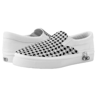 Black and White Wiggles - Slip On Printed Shoes