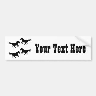 Black and White Wild Horses Car Bumper Sticker