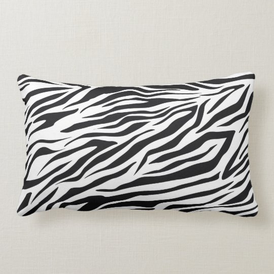 Black and White Wild Zebra Stripes Pattern Lumbar