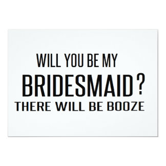 Black and White will you be my bridesmaid funny Card