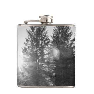 Black And White Winter Forest Landscape Hip Flask