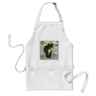 Black and white winter kitten apron