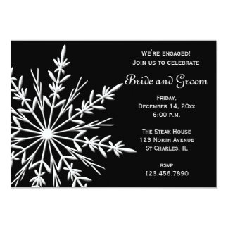 Black and White Winter Snowflake Engagement Party Card