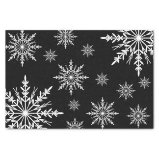 Black and White Winter Snowflakes Tissue Paper