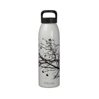 Black and White Winter Tree Reusable Water Bottle