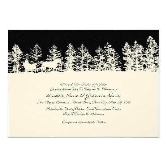 Black and White Winter Wedding Invitation
