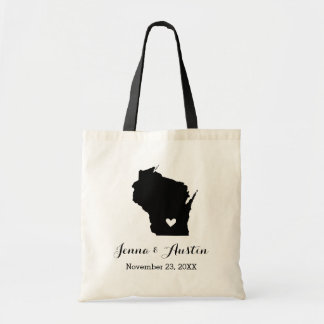 Black and White Wisconsin Wedding Welcome Tote Bag