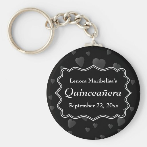 Black and White with Dark Hearts Quinceanera Key Chains