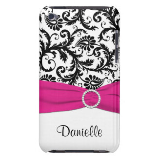 Black and White with Fuchsia Faux Ribbon  Barely There iPod Cover