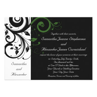 Black and White with Green Swirl Accent Invitation