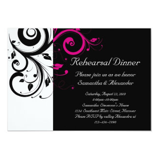Black and White with Magenta Swirl Accent 13 Cm X 18 Cm Invitation Card