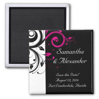 Black and White with Magenta Swirl Accent Square Magnet