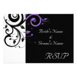 Black and White with Purple Swirl Accent Custom Announcements