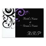 Black and White with Purple Swirl Accent 9 Cm X 13 Cm Invitation Card