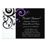 Black and White with Purple Swirl Accent Personalized Announcement