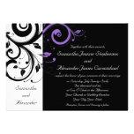 Black and White with Purple Swirl Accent Invites