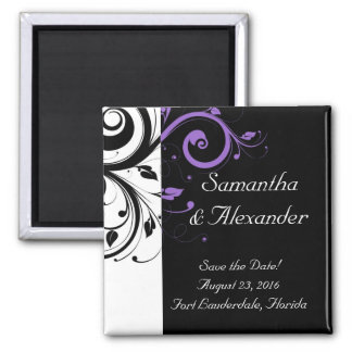 Black and White with Purple Swirl Accent Magnets