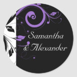 Black and White with Purple Swirl Accent Round Stickers