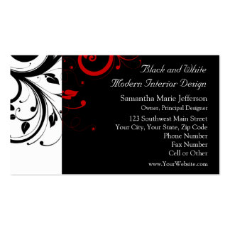 Black and White with Red Reverse Swirl Business Card