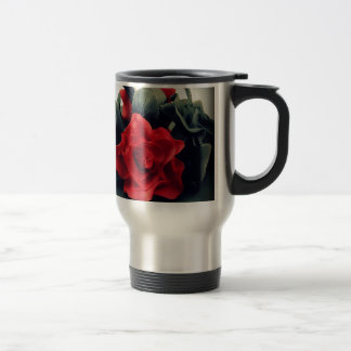 Black and White with Red Rose Stainless Steel Travel Mug