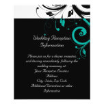 Black and White with Teal Reverse Swirl 11.5 Cm X 14 Cm Flyer