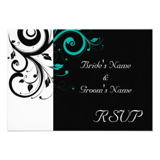 Black and White with Teal Reverse Swirl Announcement