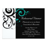 Black and White with Teal Reverse Swirl 13 Cm X 18 Cm Invitation Card