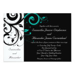 Black and White with Teal Reverse Swirl 13cm X 18cm Invitation Card