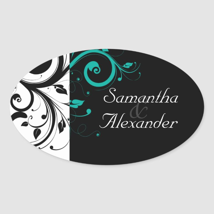 Black and White with Teal Reverse Swirl Oval Sticker