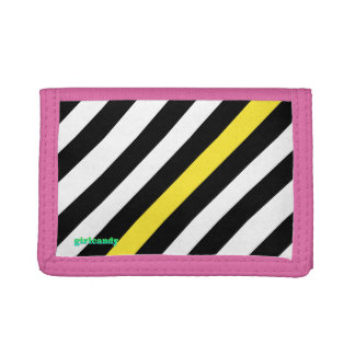 Black and white with yellow stripes tri-fold wallet