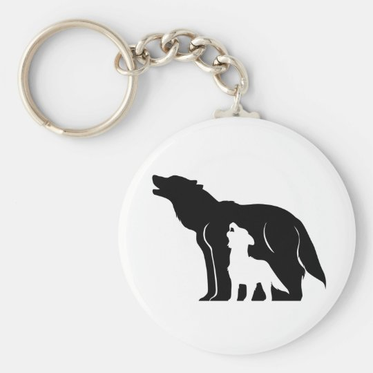 Black and White Wolves Basic Round Button Key Ring