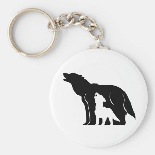 Black and White Wolves Key Ring