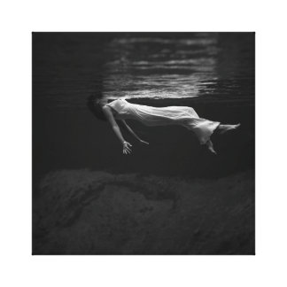 Black and White Woman in the Water Photograph Canvas Print