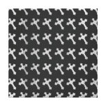 Black and White Wood Cross Design Stretched Canvas Print