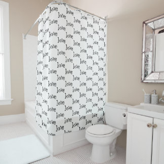 Black and White Word Love Pattern Shower Curtain