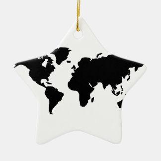 Black and white world illustration ceramic star decoration