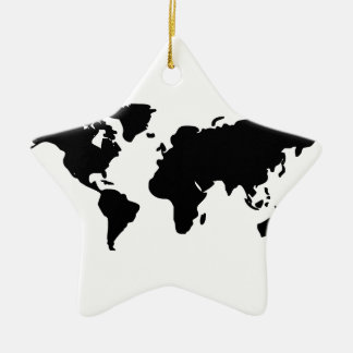 Black and white world illustration christmas ornament